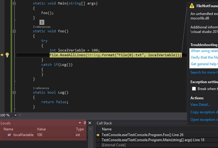 how to make code continue if exception is thrown